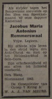 Remmerswaal Jacobus Maria Antonius advertentie 2